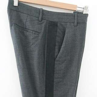 Theory Wool Dress Pants With Leather Stripe,