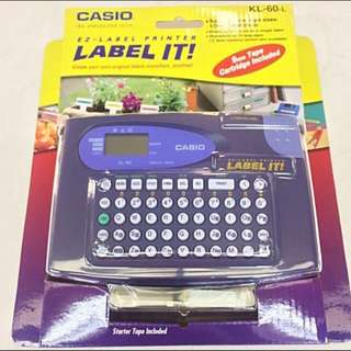 CASIO EZ-Label Printer KL-60 with 9mm BlackInk/WhiteTape
