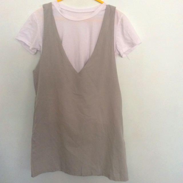 cb5005e65bf7d 2 Piece White Tshirt And Grey Pinafore Shift Dress, Women's Fashion ...