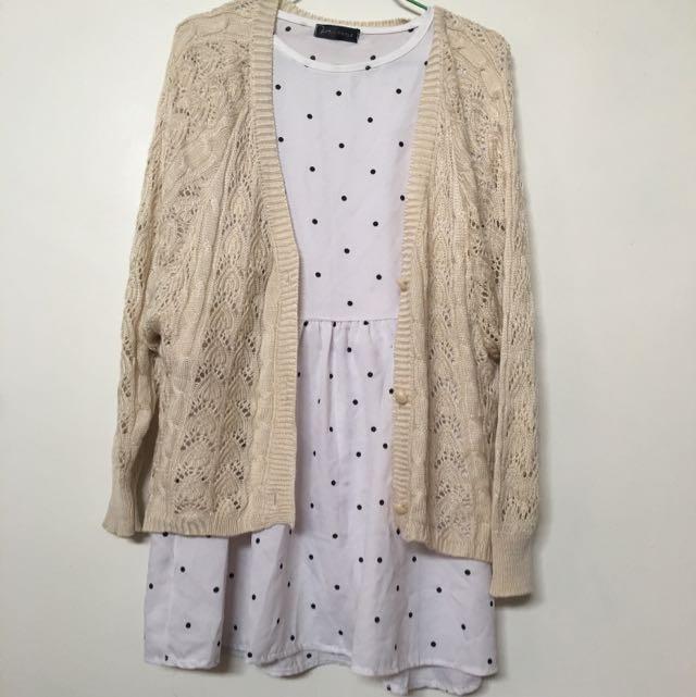 點點洋裝+米色針織外套