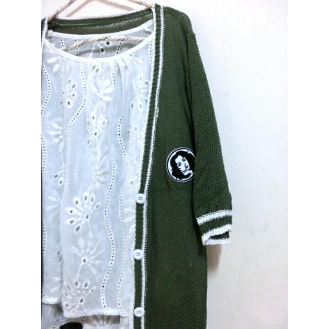 墨綠色五分袖外套