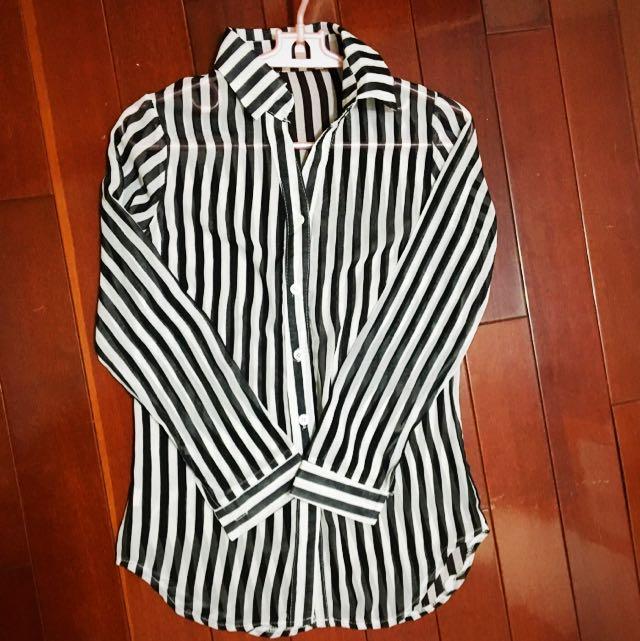 ㊁👉雪紡黑白條紋氣質襯衫💋