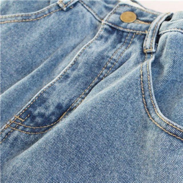 全新 水洗微寬淺色高腰牛仔褲