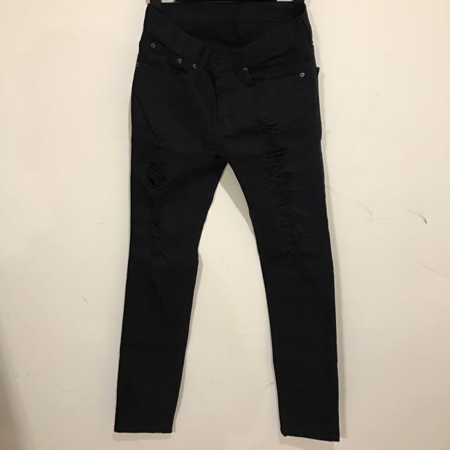 黑色 破壞 長褲