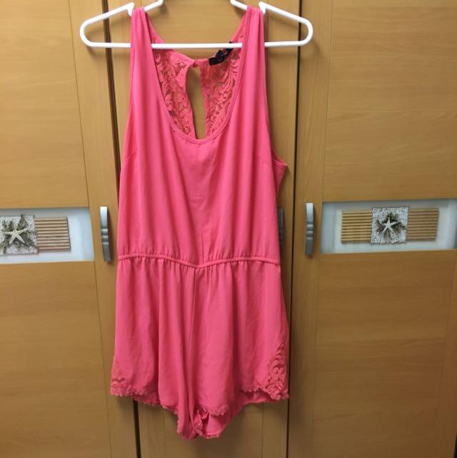 桃花色 連身褲裙 洋裝