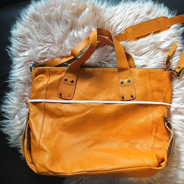 Anizoe Large Leather Tote In tangerine