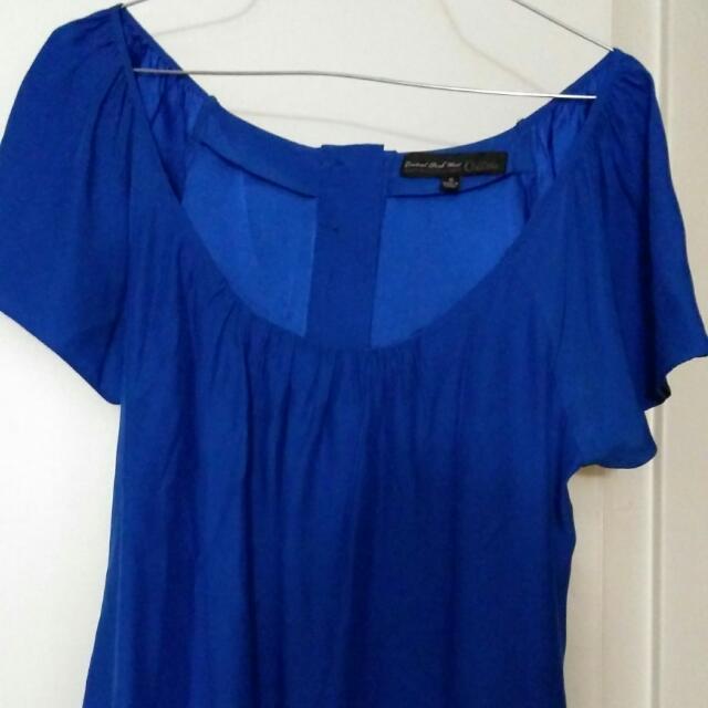 Aritzia Blue Silk Shirt