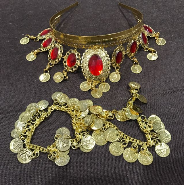 Belly dancing Gold Coin Headband And Bracelets