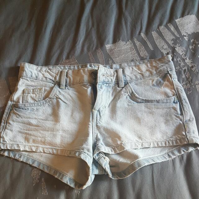 BERSHKA Blue Denim Shorts