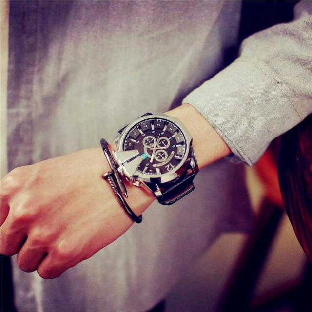 陳冠希bigbang同款個性造型大錶時尚非機械石英錶