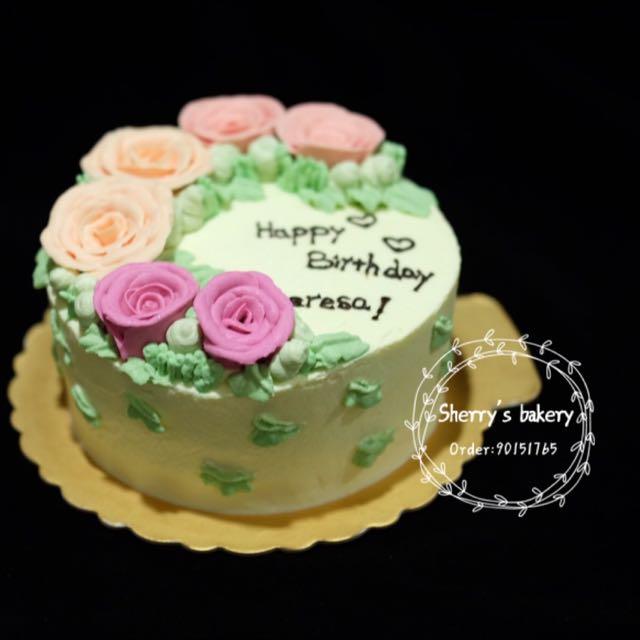 Birthday Cake Korea Style Decorate Flower Cake 1kg Food Drinks