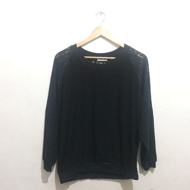 Black Lace Raglan Top