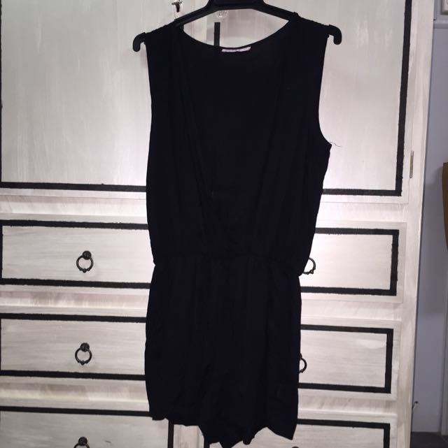 Black Low Cut Playsuit