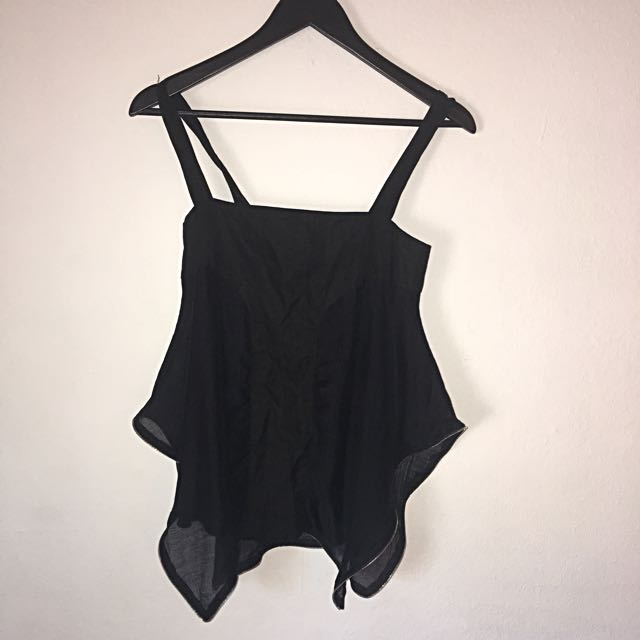 Black Sleeveless Cami With Silver Zip Detail BODY Brand XS