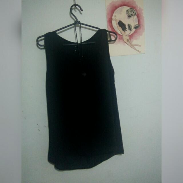 black sleeveless half see-through top (size S/M)