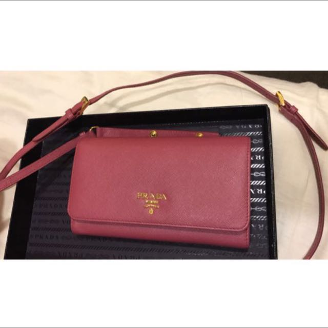 3bf6a317ad66 BNIB w Receipt Prada Saffiano Wallet With Chain Model 1M1437 In ...