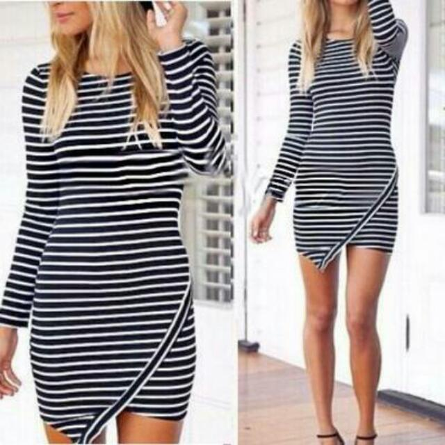 Body Fit Black And White Stripe Dress