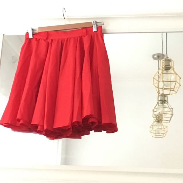 Bright Red A-line Skirt