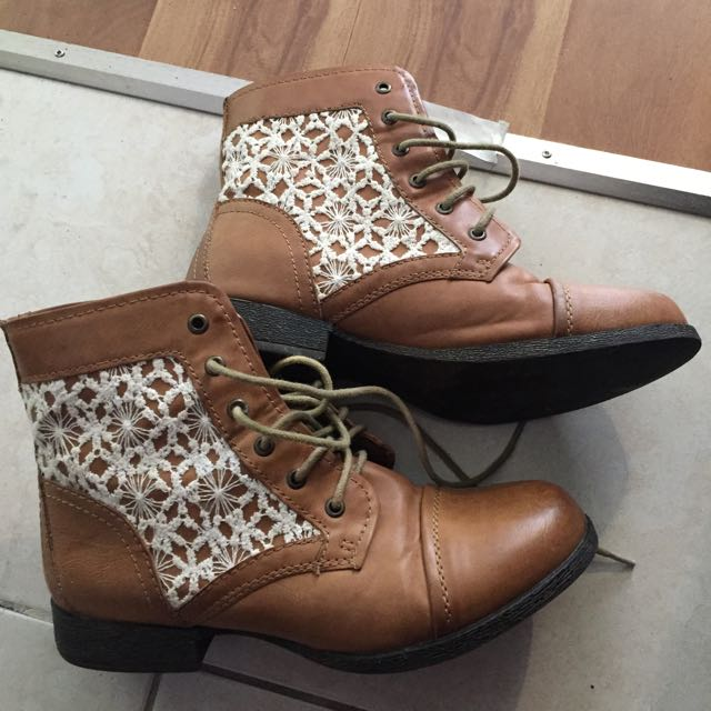 Brown Lace Boots - Size 7
