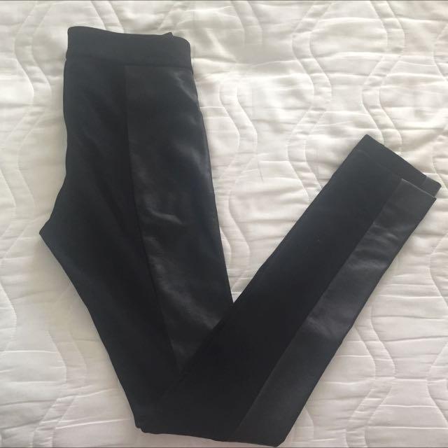 Club Monaco Size 0 Pants With Leather Side Panel