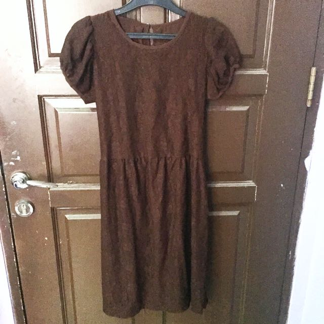 Dress Brokat Coklat