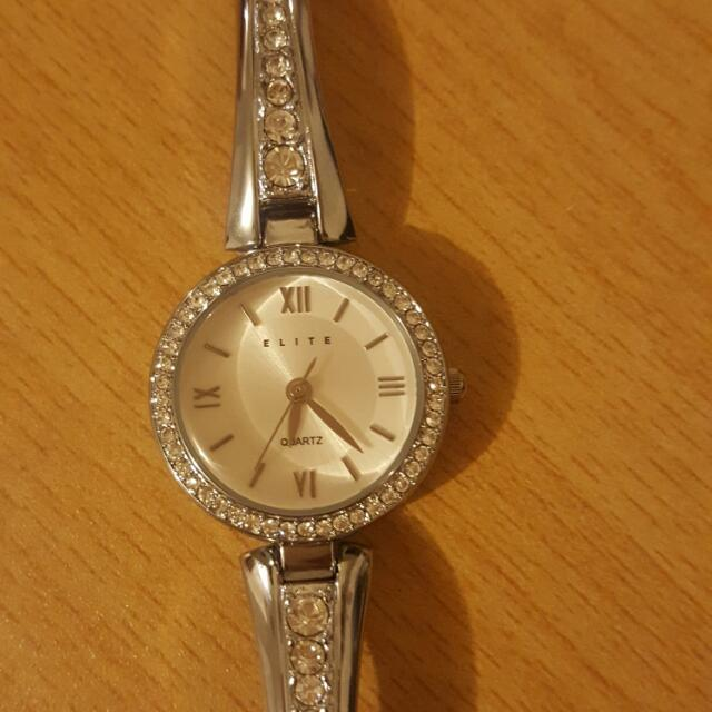 Elite Ladies Silver Tone Watch