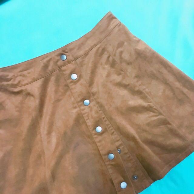 F21 Brown Velvet Skirt