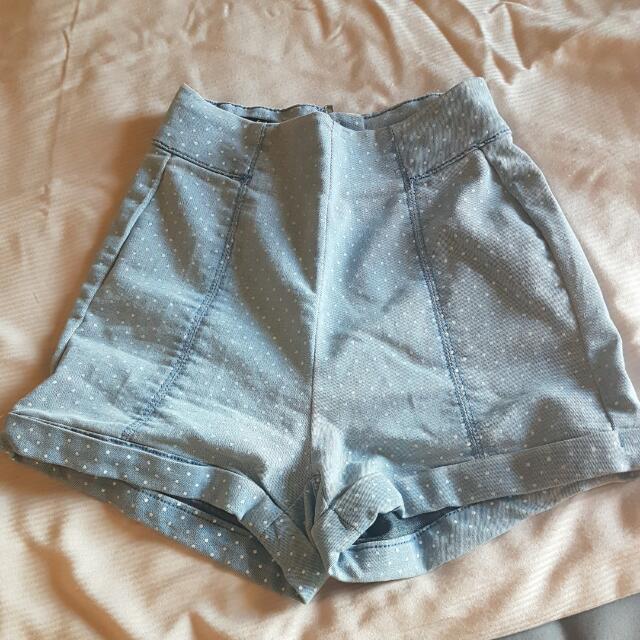 FACTORIE High-waisted Blue Shorts