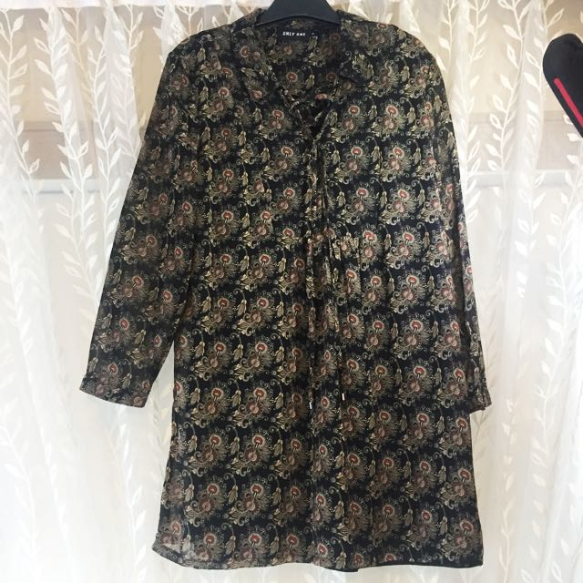 Flower Chiffon Long Blouse , Only Worn Once