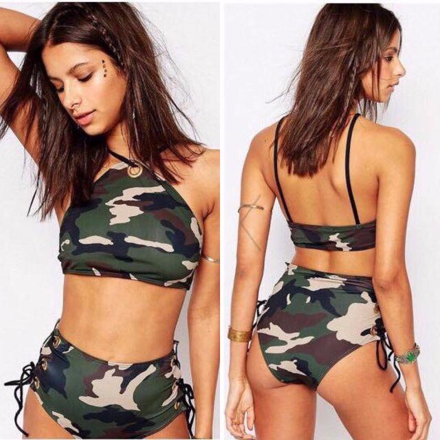 FREE SF / COD Eyelet High Neck Camouflage Print Crop Top High Waist Bikini _RX35
