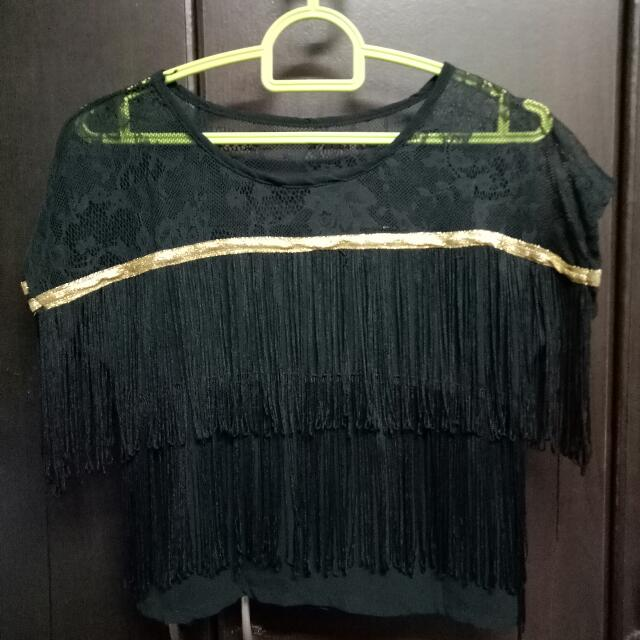 Fringe Lace Cropped Top