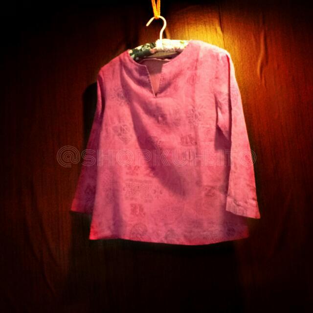 Fuschia Pink Floral Longsleeves U2 Blouse