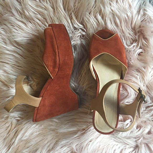 Gorman Orange Suede Platform Sandals Size 40