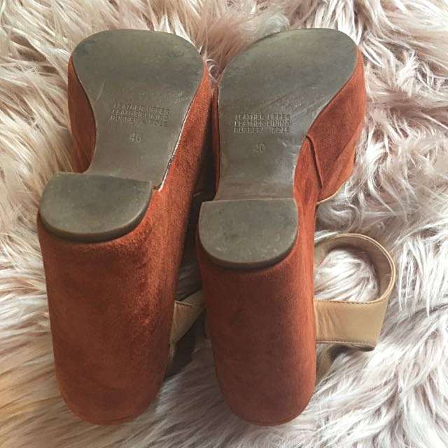 Gorman Orange Suede Platform Sandals Size 40