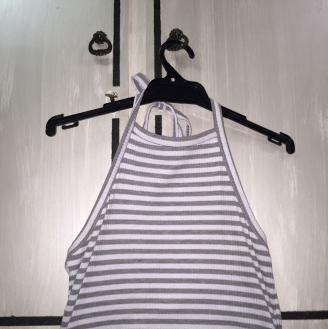 Grey And White Stripe Halter Top
