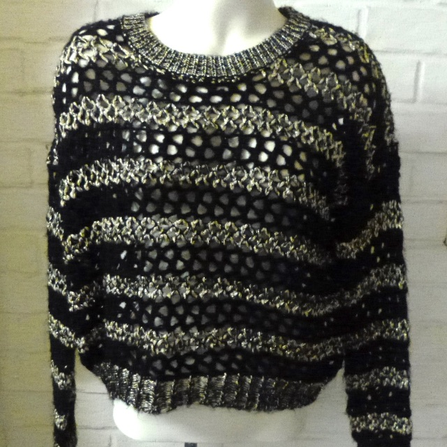 Guess Jumper Sweater Jet black & gold cable knit loose fit NEW RRP $79.00