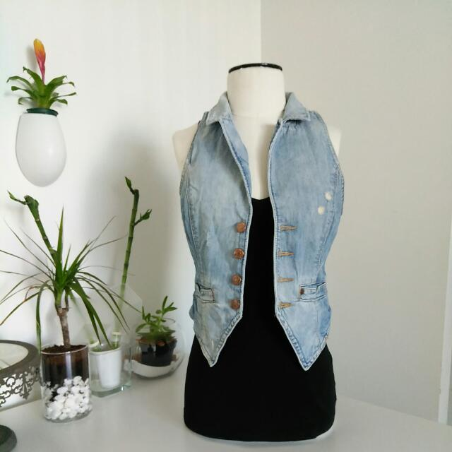 H&M Distressed Denim Vest