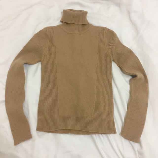 ✨全新✨iROO保暖厚實蜜糖咖啡針織高領毛衣 針織衫
