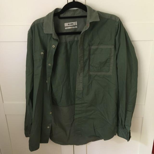 Kloke Khaki/olive Shirt Or Jacket Size Medium