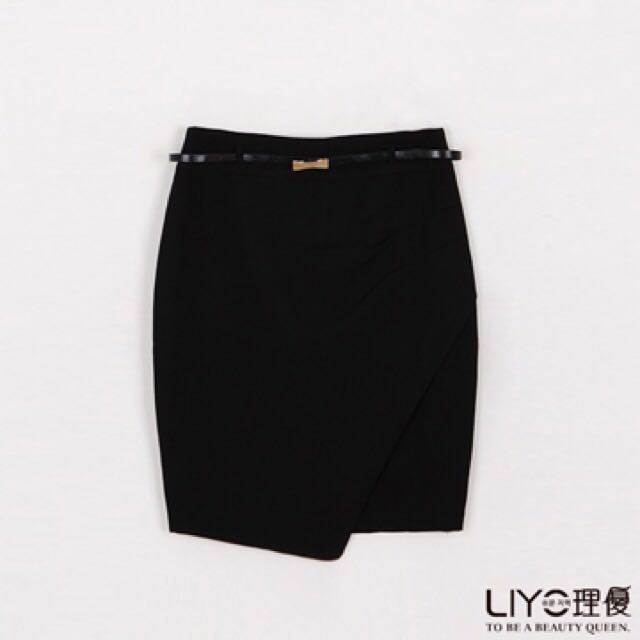 Liyo韓國優雅壓摺拼接及膝裙(M號 黑色)
