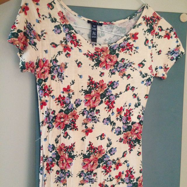 long slitted floral shirt