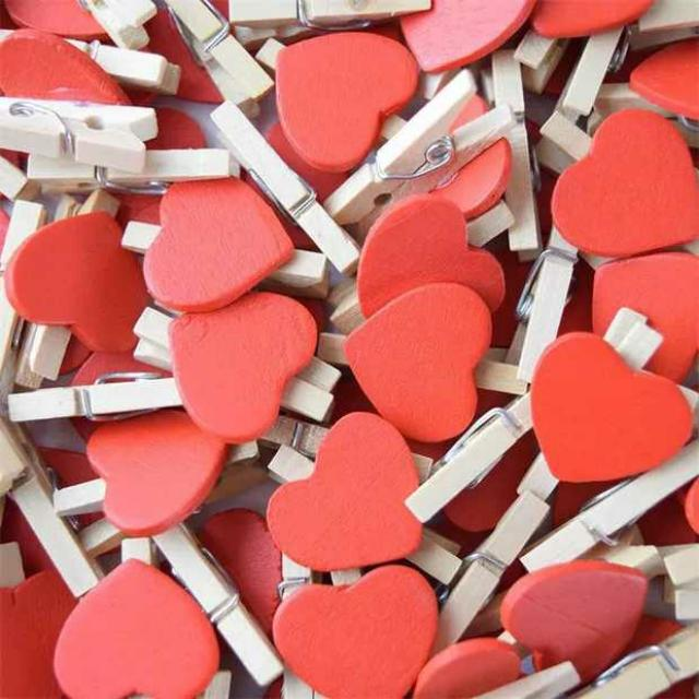 Love Heart Wooden Pegs 50pcs only
