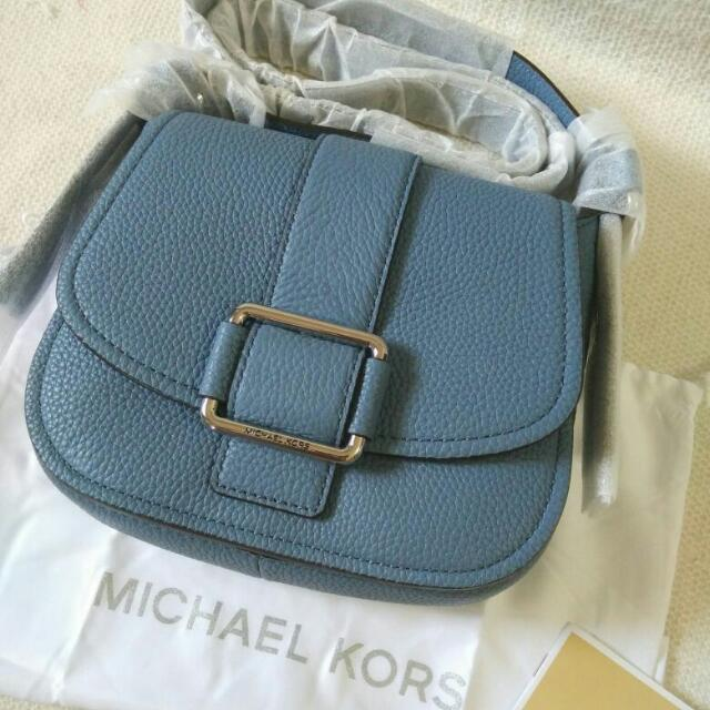 (Clearence Stock)MICHAEL KORS Maxine medium leather saddle bag