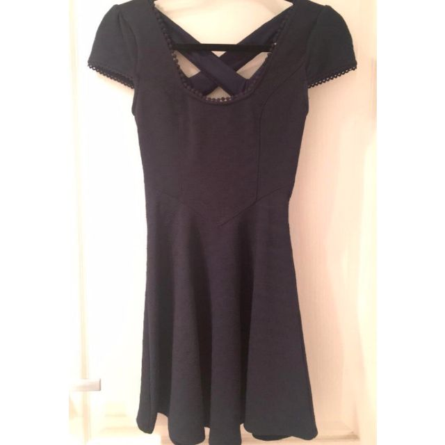 Navy blue mini dress w/ cross back