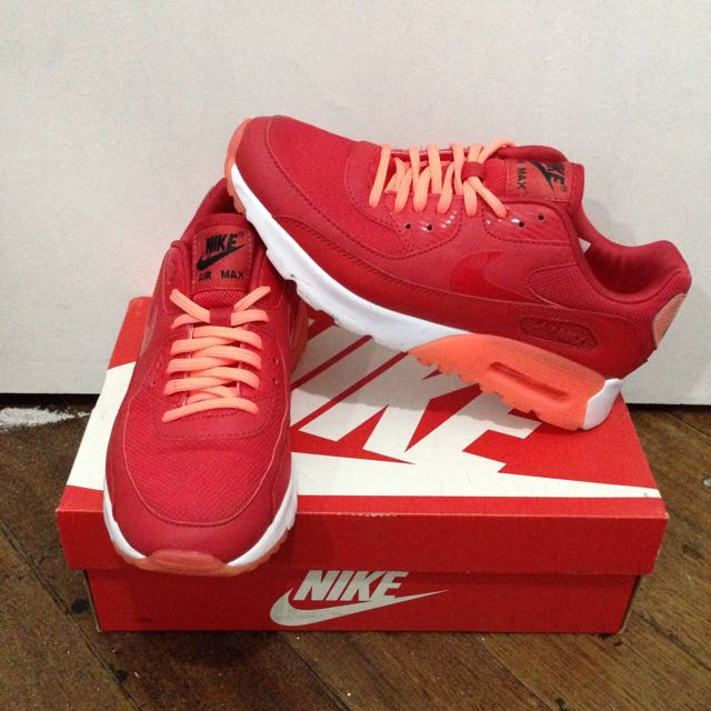 buy online 953b1 afa9c NIKE WOMEN AIR MAX 90 ULTRA ESSENTIAL UNIVERSITY RED BRIGHT MANGO ...