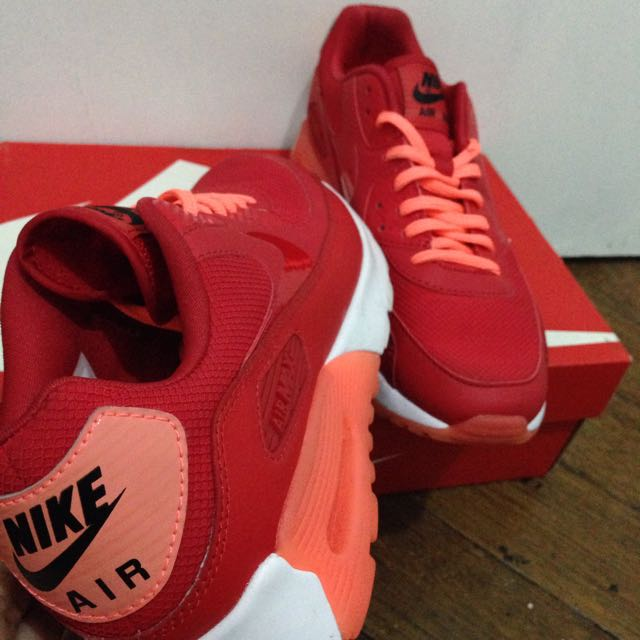 buy online 866de ea36a NIKE WOMEN AIR MAX 90 ULTRA ESSENTIAL UNIVERSITY RED BRIGHT MANGO-WHITE,  Women s Fashion, Shoes on Carousell
