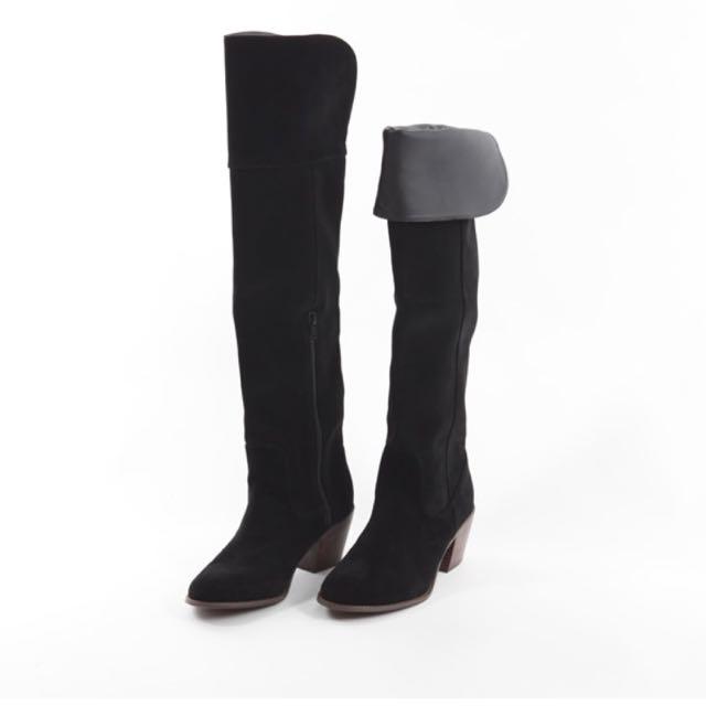 ORiental TRaffic-華麗絲絨過膝反折長靴-黑色
