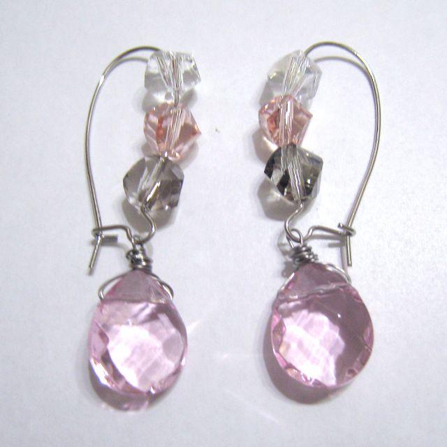 Pink Dangling Fashion Earrings - Handmade - New