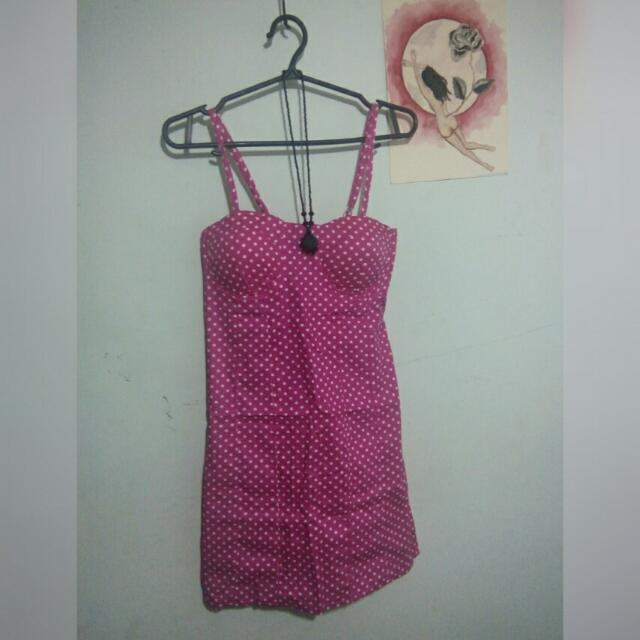Pink polka bustier dress (size small)