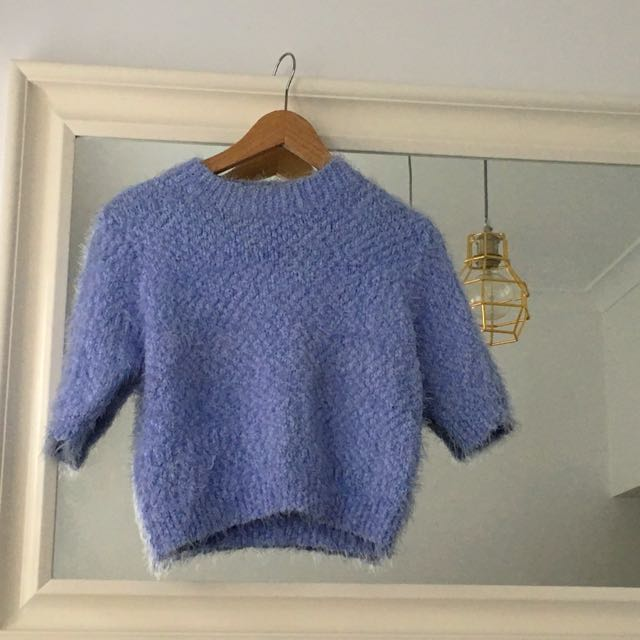 Powder Blue Crop Knit